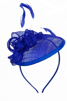 Cobalt Blue Small Saucer Hat Fascinator With Aliceband